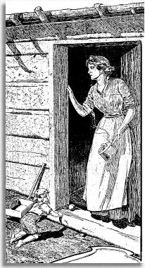 Accounts of women who arrived during the Gold Rush. Some were miners or helped their husbands mine for gold. 1900 Chronicle drawing of Pioneer Mother at door of Log Cabin