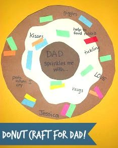 Here's a colorful donut kids craft for dad! Celebrate Father's Day with this cute gift idea using construction paper, glue, scissors, and markers.