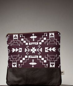 SALE Navajo Pattern Printed  Leather Pouch Plum by CORIUMI on Etsy, $45.00