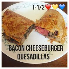 Serves 4 Container Equivalents (per serving): 1-1/2 Red, 1 Yellow, 1 Blue // Ingredients 1 pound extra lean ground beef 8 slices of turkey bacon (2 slices per serving) 1 small red onion, diced 2 ta…