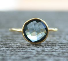 Gold Blue Topaz Ring  Round Cut  Stack Ring December by OhKuol, $65.00 - avery's birthstone <3