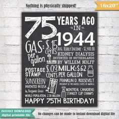 75 Years Ago Back In 1944 75th Birthday Chalkboard Poster Sign USA Events