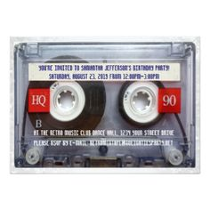 Retro 80s Cassette Tape Party Invitations 80s Birthday party