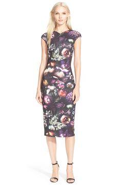 Ted Baker London 'Raisie' Floral Print Body-Con Midi Dress