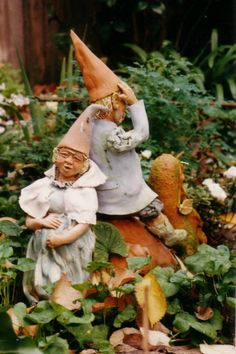 Crazy Gnome Family living in garden.by Sylvia Simon in Australia.