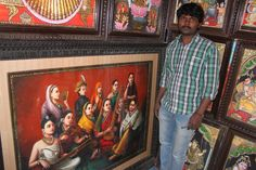 Tanjori paintings made from 24 carat gold foil from Tamil Nadu are on display at Stalls, Carat Gold, Gold Foil, Paintings, Display, Art, Floor Space, Art Background, Paint