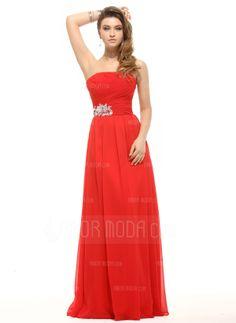 A-Linie/Princess-Linie Trägerlos Bodenlang Chiffon Festliche Kleid mit Rüschen Pailletten (020016068)