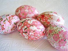 Easter Eggs Decoupage Pink Origami cherry by CatnipStudioToo