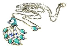 niceeshop Crystal Faux Gemstone Peacock Turquoise Necklace,Blue and Green