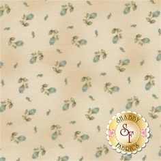 Welcome Home Collection One 8363-EQ by Jennifer Bosworth for Maywood Studio Fabrics: Welcome Home Collection One is a beautiful collection by Jennifer Bosworth for Shabby Fabrics manufactured by Maywood Studio Fabrics. This fabric features teal blue rose buds tossed on a cream background.