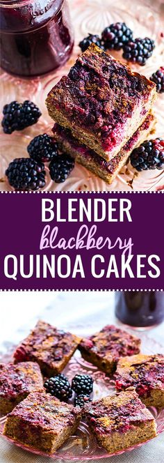 Healthy blender blackberry quinoa cakes recipe! These gluten free quinoa cakes are made with simple fresh ingredients. Dairy free, no refined sugar, and delicious! No oil or butter needed. Just blend and bake! They are packed full of fiber, protein, and great for breakfast, snacks, or desserts. www.cottercrunch.com
