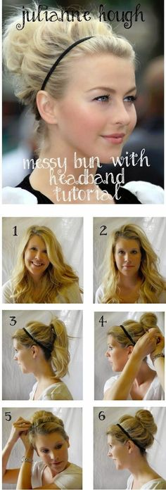Messy Bun With Headband Tutorial.   -  #bun  #hairstyle