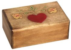 Woodcarved Heart Box. Wood-stain & paint.