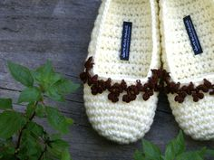 Crochet Slippers with Floral Crochet Lace Border, Women's House Shoes, Off White Brown