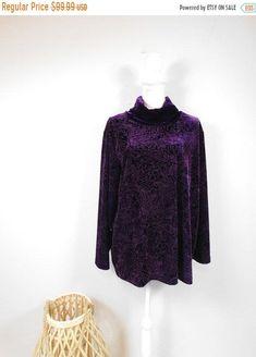50% OFF FALL SALE Vintage 80s Coldwater Creek Dark Purple Leaf Vine Print Velvet Soft Turtleneck Long Sleeve Sweater Top 18/1X Plus Size by WearingMeOutVtg on Etsy