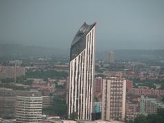 Strata Tower, wind-turbined residential condo building, taken from the London Eye in the rain.  London UK June 2011