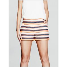 GUESS by Marciano Erin Striped Short featuring polyvore, women's fashion, clothing, shorts, stripe shorts, guess by marciano, striped shorts, short shorts and embellished shorts
