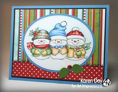 Art Impressions Rubber Stamps: Ai Christmas: Holly Jolly Set (Sku #4667): handmade holiday card. snowmen, snowman