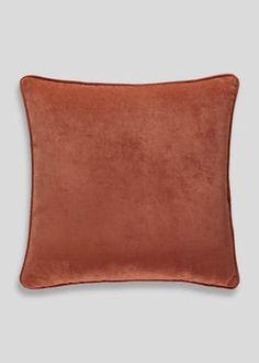 Velour Cushion (46cm x 46cm) – Orange – Matalan