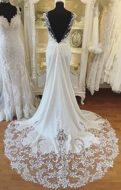 Gorgeous lace train on Estelle by Maggie Sottero courtesy of The Wedding Dress Company in the UK.