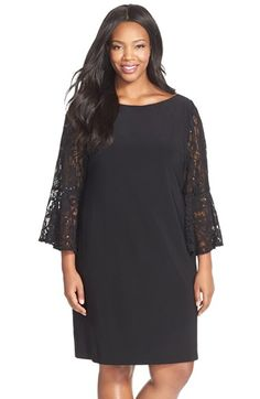 Xscape Lace Sleeve Jersey Sheath Dress (Plus Size) available at #Nordstrom