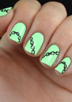mint green chains nail art