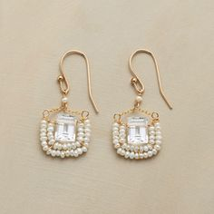 """PRINCESSE EARRINGS--Chained to French wires, baguettes cut of crystalline quartz are rimmed with tiny cultured freshwater pearls. 14kt goldfill. Ours exclusively, handmade in USA. 1-3/8""""L."""