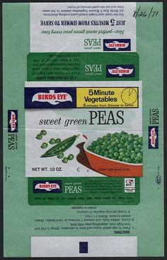 General Foods Bird's Eye 5 Minute Vegetables Sweet Green Peas wax wrap - August 26 1971 by JasonLiebig, via Flickr
