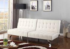 Light Beige Linen With Split Back Adjule Klik Klak Sofa Futon Bed Sleeper Convertible Quality Wide