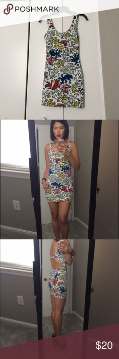 Multi colored bodycon dress Keith Haring designed bodycon dress. Mini length. Worn once. Forever 21 Dresses Mini