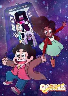 Doctor Who Steven Universe Poster! idk if I should pin it to my doctor who board or my Steven Universe board! Hahaha, oh the greatness! Steven Universe Poster, Steven Universe Crossover, Universe Art, Cartoon Network, Fanart, Fandom Crossover, Cartoon Crossovers, Nerd Love, Superwholock