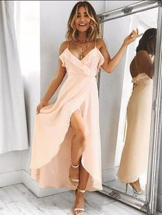 Stunning Pink Prom Dress,Long Prom Dresses with Slit,Homecoming