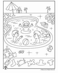Swimming Pool Summer Hidden Pictures Page Activity Sheets For Kids, Printable Activities For Kids, Preschool Worksheets, Preschool Activities, Summer Coloring Pages, Coloring Pages For Kids, Highlights Hidden Pictures, Hidden Pictures Printables, Hidden Picture Puzzles