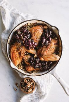 Roasted Rosemary Chicken with Grapes and Rice Pilaf