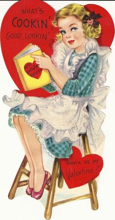 What's Cooking Goodlooking? Wanna be my Valentine? Love this vintage valentine! Valentine Images, My Funny Valentine, Vintage Valentine Cards, Vintage Greeting Cards, Vintage Holiday, Valentine Day Cards, Vintage Postcards, Vintage Images, Happy Valentines Day