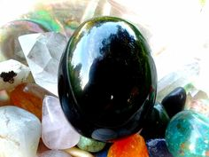 Large Drilled Black Obsidian Yoni Egg (GIA Certified, Vertically Drilled) LDBO4 by TheWomanWhole on Etsy #YoniEggs #CosmicYoniEggs #BlackObsidianYoniEgg #TheWomanWhole #PussyPower #NaturesPocket #Crystals