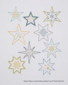 Super Stars modern hand embroidery pattern - modern embroidery PDF pattern, digital download