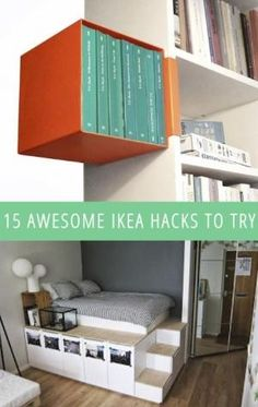 15 Awesome IKEA Hacks To Try. I want to do the bed thing SO BAD by karin