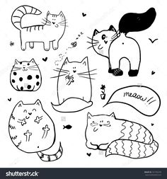 Doodle cute cats background.