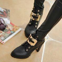 Black Lace-up Metal Ankel Boots High Heels, #Wendybox