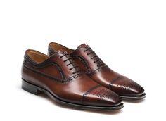 Cognac brown longwing oxford shoes for men - Magnanni