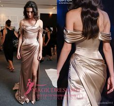 2016 Ralph Russo Champagne Prom Evening Dresses Special Occasion Dress Mermaid Off-Shoulder High Split Long Formal Celebrity Gowns