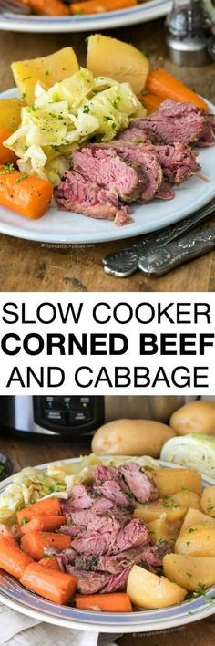 This Corned Beef and Cabbage Slow Cooker recipe packs all of the deliciousness of corned beef into a meal that cooks itself. Talk about a stroke of good fortune on St. Patrick's Day or any day of the year! (joy of cooking meals) Cabbage Slow Cooker, Slow Cooker Corned Beef, Corn Beef And Cabbage, Cabbage Recipes, Crock Pot Slow Cooker, Crock Pot Cooking, Corned Beef And Cabbage Recipe Crock Pot, Cornbeef And Cabbage Crockpot, Cooking Time