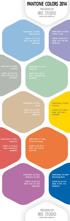 Pantone Colors for Spring 2014- - -like this one better with the color code numbers #infographics