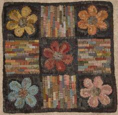 Primitive Rug Hooking Pattern-Flowerbox by primitivejunky on Etsy