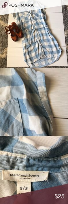 0f491262f9f beachlunchlounge Chambray Checkered Tie Dress High Low Hem Buttons Up  Rolled Hemmed Sleeves Double Breasted Pockets
