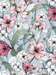 Aquarelle Garden print on Behance - Wallpaper Flower Wallpaper, Pattern Wallpaper, Wallpaper Backgrounds, Iphone Wallpaper, Art And Illustration, Art Illustrations, Pattern Art, Print Patterns, Impression Textile