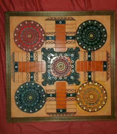 Early Folk Art Hand Tooled Colored inlaid  Leather on Wood Parcheesi Game Board