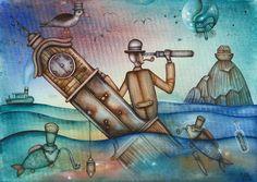 Distant Voyage by Eugene Ivanov, watercolor on paper, 29 X 41 cm, $250. #eugeneivanov #@eugene_1_ivanov #modern #original #oil #watercolor #painting #sale #art_for_sale #original_art_for_sale #modern_art_for_sale #canvas_art_for_sale #art_for_sale_artworks #art_for_sale_water_colors #art_for_sale_artist #art_for_sale_eugene_ivanov