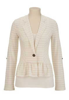Striped Ruffle Bottom Blazer available at #Maurices